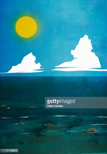 sun shining over blue ocean - tranquil scene stock illustrations