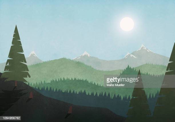 sun shining over idyllic mountain and forest landscape - silence stock illustrations