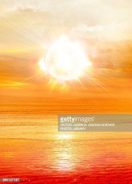 sun shining over water, illustration - sunset stock illustrations