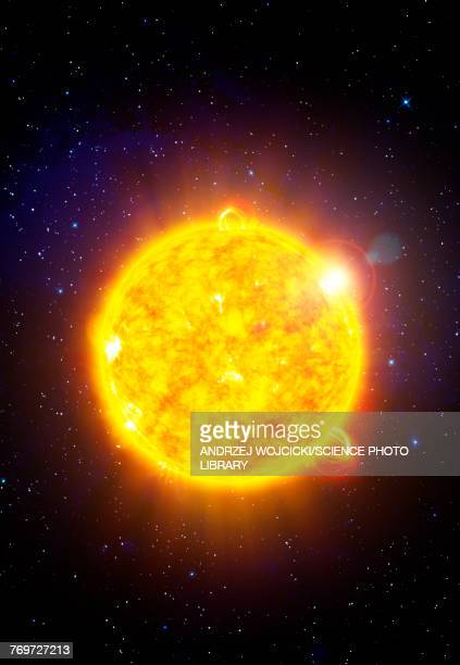 ilustrações, clipart, desenhos animados e ícones de sun with solar flares, illustration - luz solar