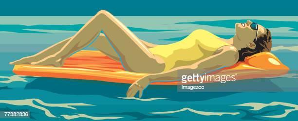 illustrations, cliparts, dessins animés et icônes de sunbather - matelas pneumatique