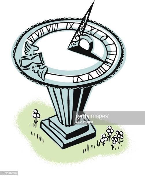 sundial - minute hand stock illustrations
