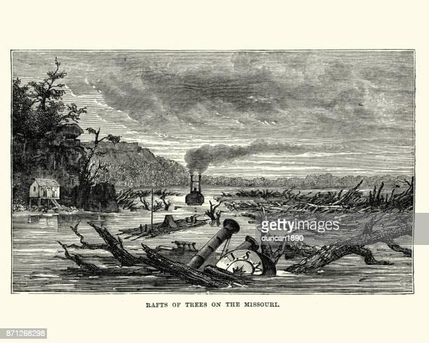 sunken paddleboat and raft of trees missouri river, 19th century - driftwood stock illustrations
