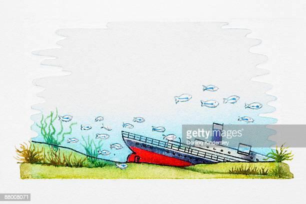 sunken ship at bottom of sea - at the bottom of stock illustrations