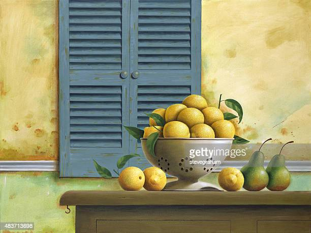 Sunlit Lemons in a Colander with Pears