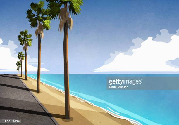 sunny, idyllic tropical ocean - silence stock illustrations