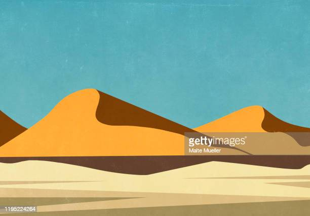 sunny landscape view remote desert - no people stock illustrations