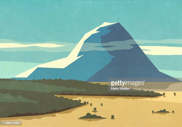 sunny, scenic view mountain landscape - wilderness stock illustrations