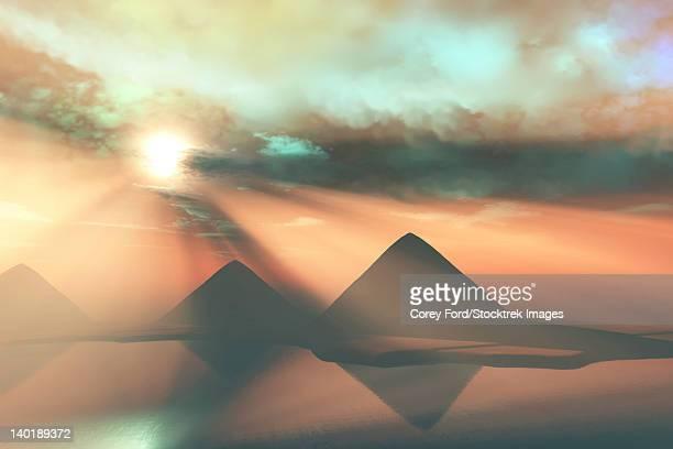sunrays shine down on three pyramids along the nile river on the giza plateau. - nubia stock illustrations, clip art, cartoons, & icons