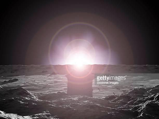 sunrise on mercury. - mercury planet stock illustrations
