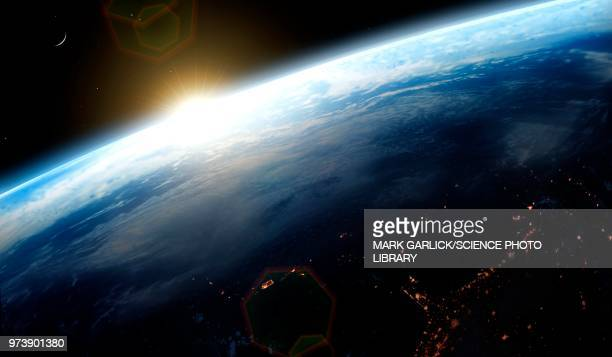 sunrise over earth, illustration - planet earth stock illustrations