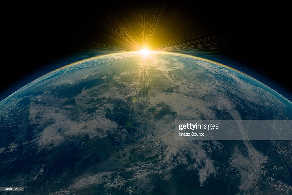 Sunrise over planet earth : stock illustration