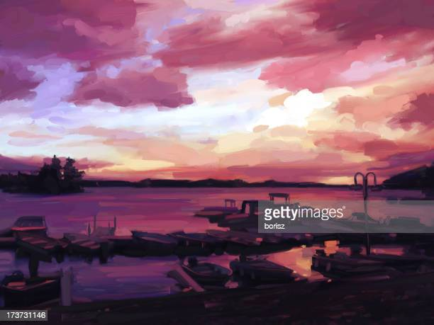 sunset at the marina - motorboating stock illustrations, clip art, cartoons, & icons