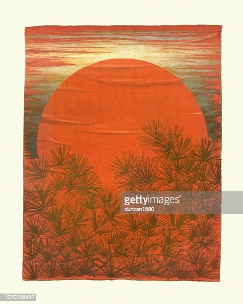 松林の後ろの夕日、日本のアートプリント - リトグラフ点のイラスト素材/クリップアート素材/マンガ素材/アイコン素材