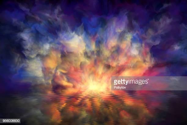 illustrations, cliparts, dessins animés et icônes de coucher de soleil dans la réflexion de l'eau, art peint l'arrière-plan - enigme