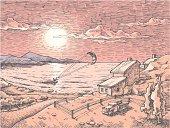 Sunset kite-surfing.