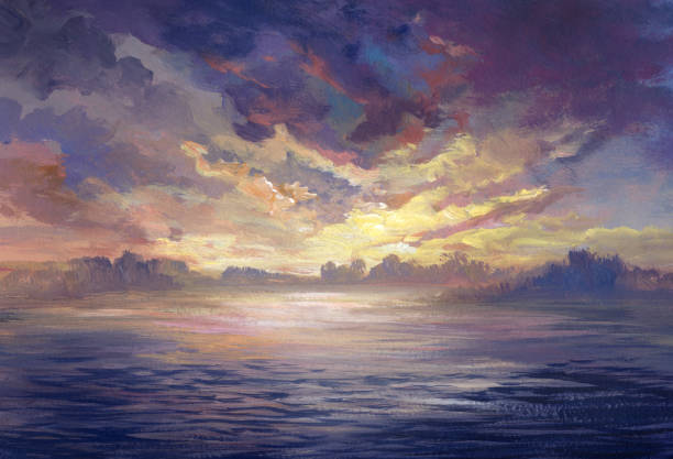 sunset near the water, acrylic painting - fantasy stock illustrations