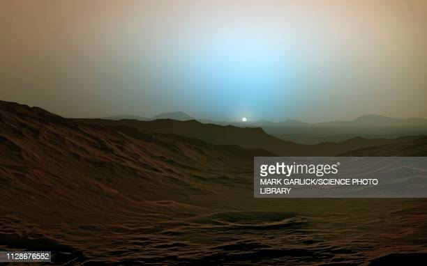 illustrations, cliparts, dessins animés et icônes de sunset on mars, illustration - coucher de soleil