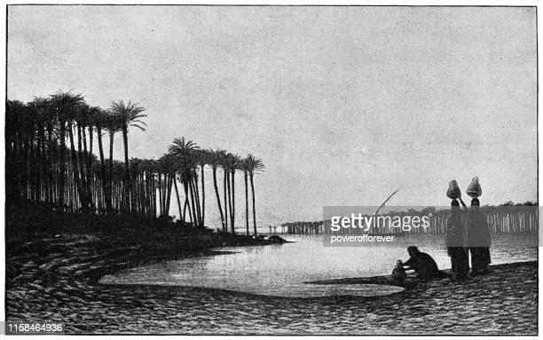 illustrations, cliparts, dessins animés et icônes de sunset on the nile de charles-theodore frere - 19ème siècle - afrique paysage
