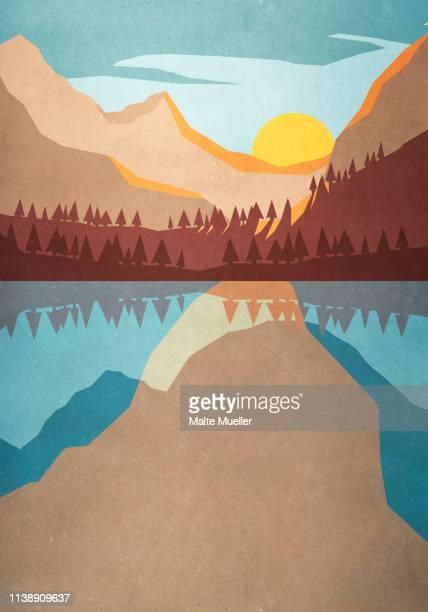 sunset over tranquil mountain lake - idyllic stock illustrations