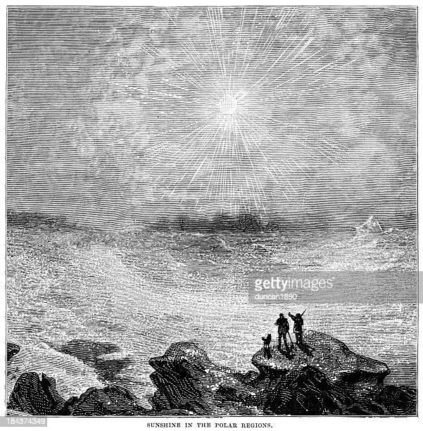 stockillustraties, clipart, cartoons en iconen met sunshine in the polar regions - corona zon