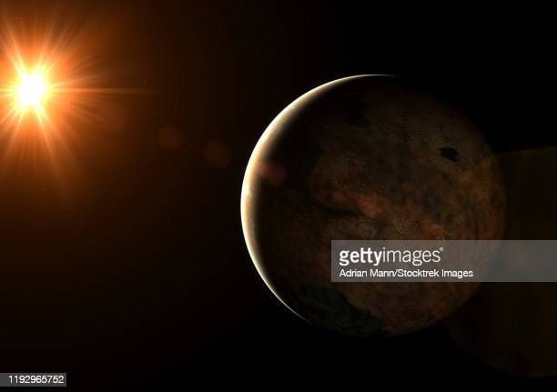 super earth exoplanet orbiting a red dwarf star. - orbiting stock illustrations