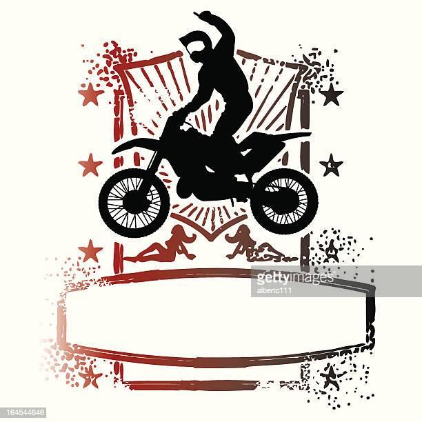 ilustraciones, imágenes clip art, dibujos animados e iconos de stock de motoplex super grunge - motocross
