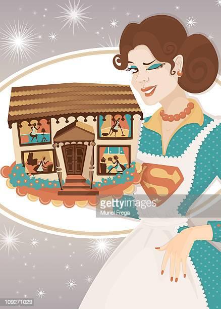 super mum holding up a happy home - updo点のイラスト素材/クリップアート素材/マンガ素材/アイコン素材