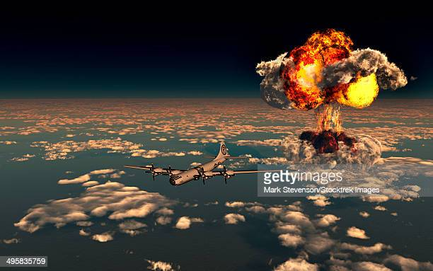 illustrations, cliparts, dessins animés et icônes de b-29 superfortress flying away from the explosion of the atomic bomb. - bombe atomique