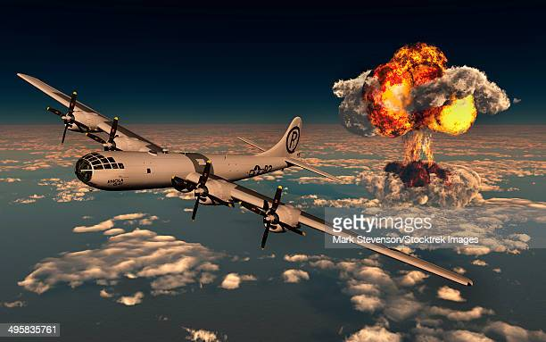 b-29 superfortress flying away from the explosion of the atomic bomb. - b 29機点のイラスト素材/クリップアート素材/マンガ素材/アイコン素材