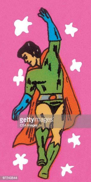 superhero in short shorts - heroes stock illustrations