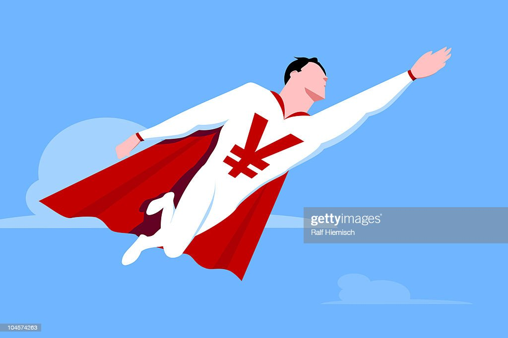 Superhero with Yen symbol : stock illustration