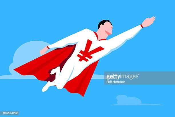 Superhero with Yen symbol