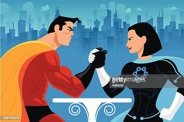 superheros arm wrestling - pretty brunette woman cartoon stock illustrations