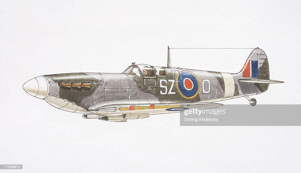 Supermarine Spitfire Plane Side View stock illustration
