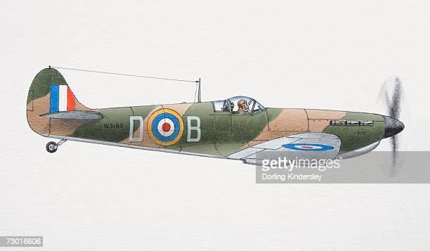 1939 supermarine spitfire, side view. - 1939 stock-grafiken, -clipart, -cartoons und -symbole