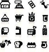 Supermarket icons set  Elegant series