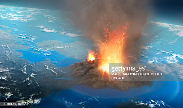 supervolcano erupting, illustration - vulkan stock-grafiken, -clipart, -cartoons und -symbole