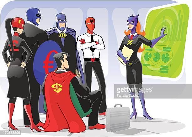 ilustraciones, imágenes clip art, dibujos animados e iconos de stock de superwoman giving presentation in a conference room - grupo mediano de personas