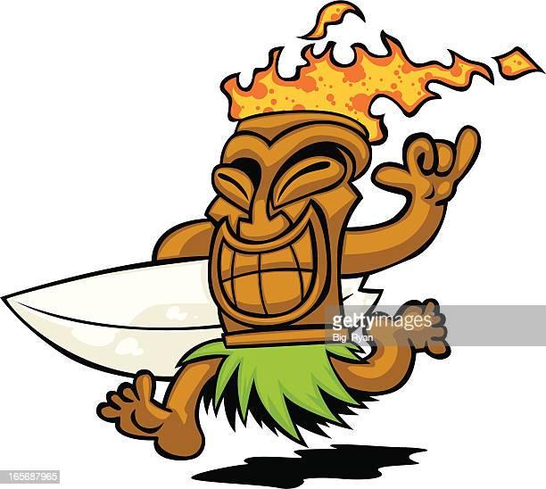 surf tiki - hawaiian ethnicity stock illustrations, clip art, cartoons, & icons