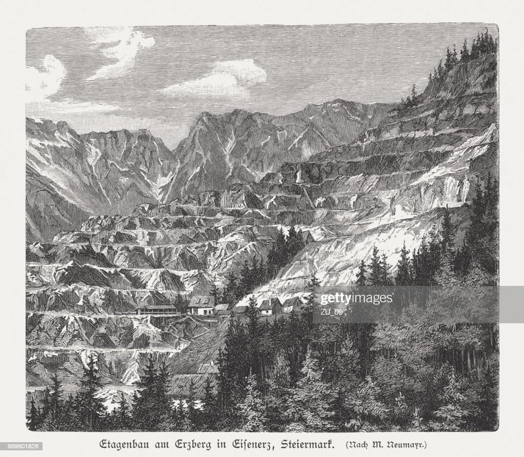 Surface mining, Erzberg in Eisenerz, Styria, Austria, woodcut, published 1897 : Stock Illustration