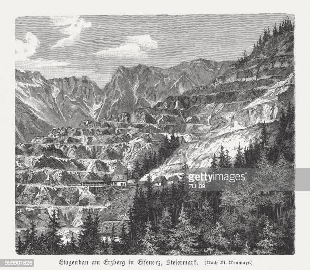 Surface mining, Erzberg in Eisenerz, Styria, Austria, woodcut, published 1897