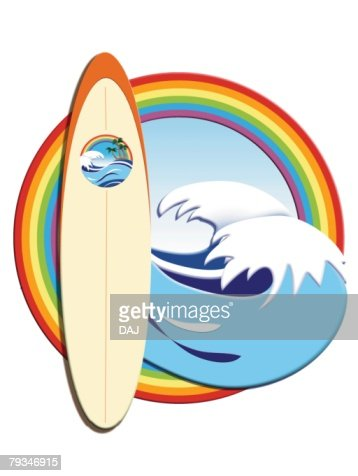 Surfboard And Waves In Rainbow Frame Painting Illustration Stock ...