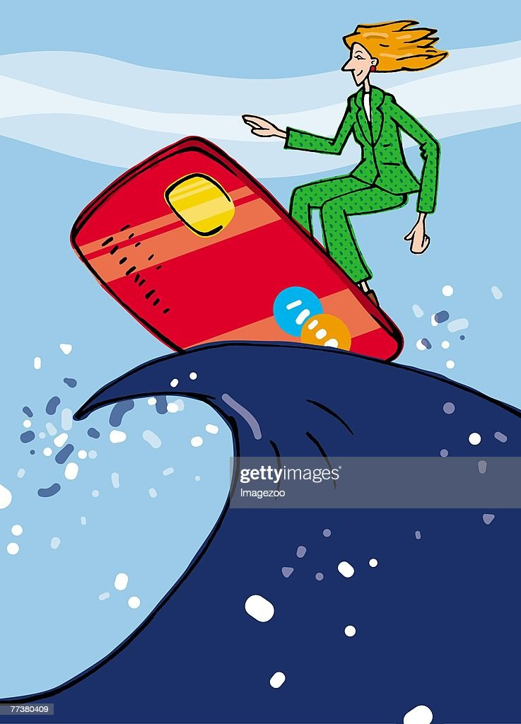 surfboard credit card : Illustration