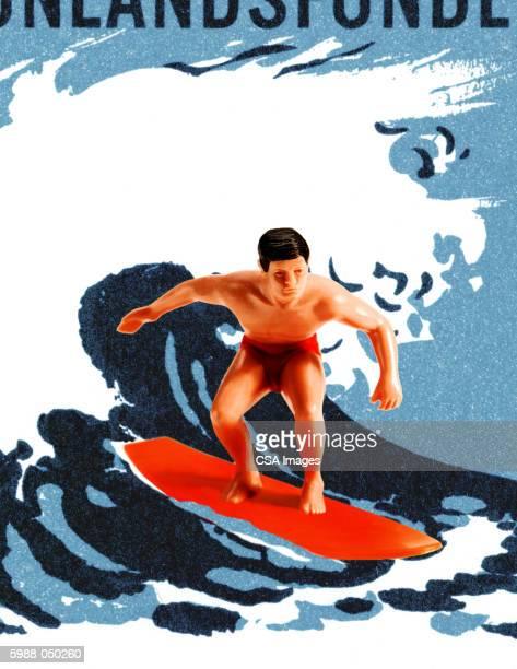 surfer figurine on wave - figurine stock illustrations, clip art, cartoons, & icons