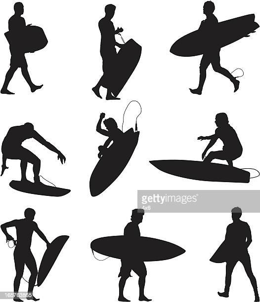 Surfers and boogie boarders