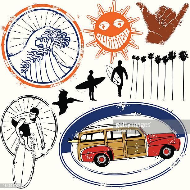 surfin cali fo nai a - huntington beach california stock illustrations, clip art, cartoons, & icons