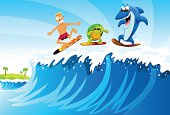 Surfing against Shark and Turtle