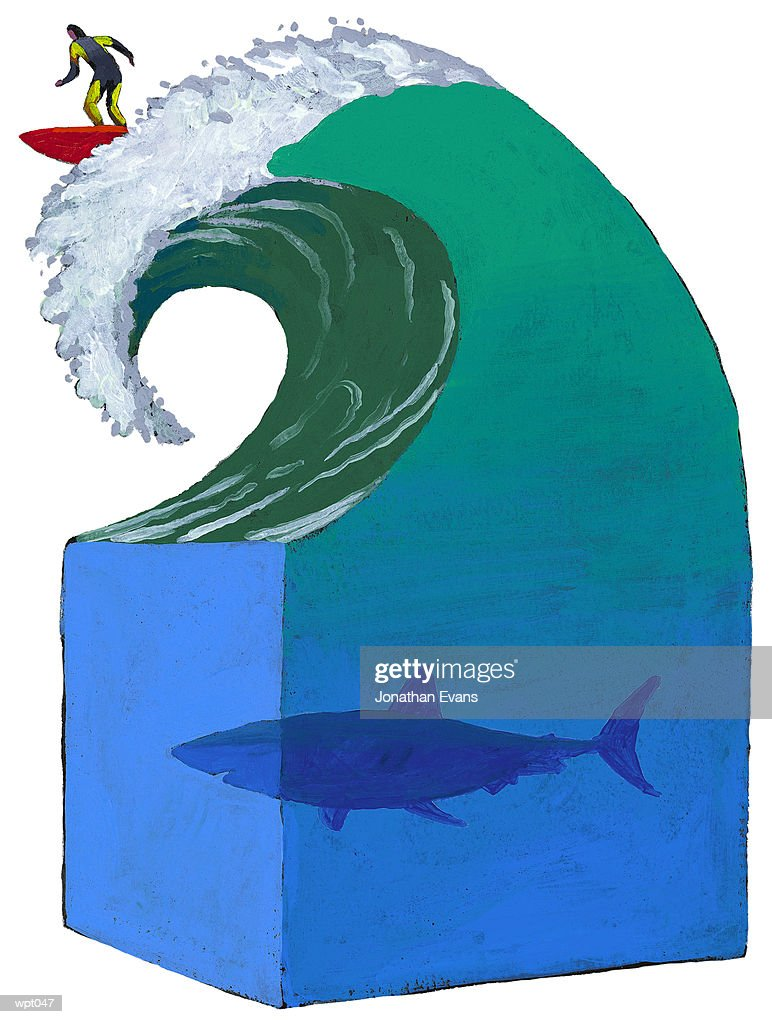 Surfing in Shark-Infested Waters : Stockillustraties