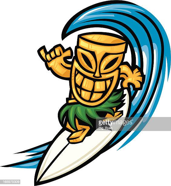 surfing tiki - hawaiian ethnicity stock illustrations, clip art, cartoons, & icons